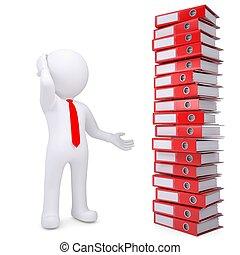 folders, kantoor, volgende, witte , man, stapel, 3d