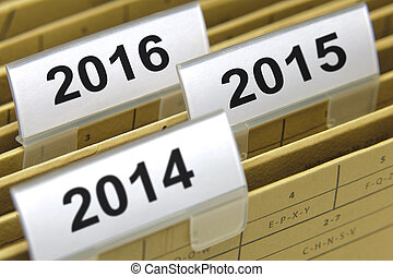 folders marked with years 2014, 2015 and 2016