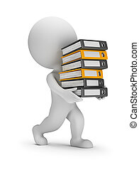 folders, mensen, -, dragen, kleine, stapel, 3d