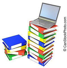 folders next to a modern laptop - Colorful folders next to a...