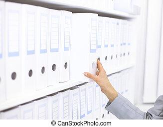 folders, plank, documenten