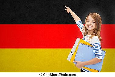folders, richtende vinger, student, meisje, vrolijke