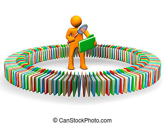 Folders Scan - Orange cartoon character search in the...