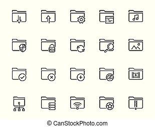 folders, stijl, set, verwant, vector, dune lijn, pictogram