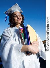 folders, student, textbooks, groot, afstuderen, stapel, vrouwlijk, vasthouden, vrolijke