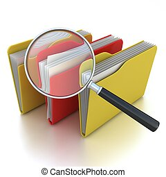 Folders under the magnifier isolate - folders search 3d icon...