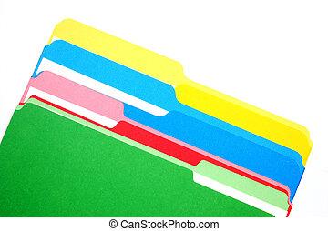 folders, vier, kleuren, gekleurde