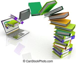folders, vlieg, schoot, jouw, kleurrijke