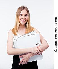 folders, vrouw zaak, jonge, vasthouden, vrolijke