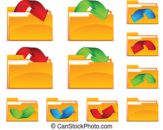 Folders with arrows - Folder with arrows, isolated on white...