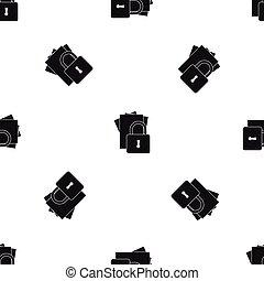 Folders with padlock pattern seamless black