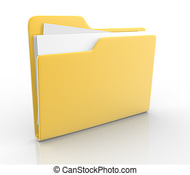 Folders with paper. This is a 3d render illustration