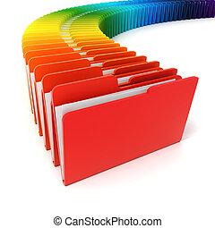 folders, witte achtergrond, kleurrijke, 3d