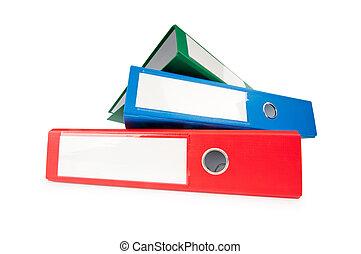 folders, witte achtergrond, vrijstaand, kantoor
