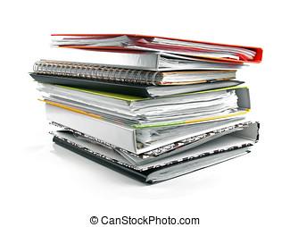 folders, witte , vrijstaand, achtergrond, stapel