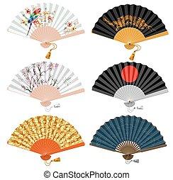 Foldind fan set - Decorative folding fan set for man and...