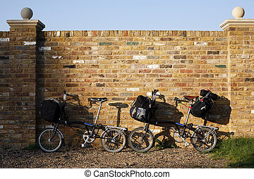 Folding bicycles - Folding bicycle while cycling around in...
