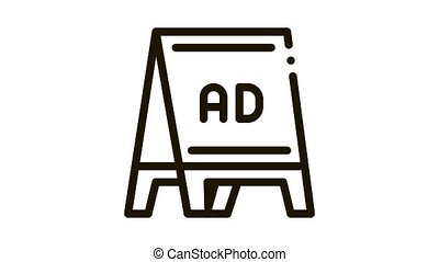 folding billboard Icon Animation. black folding billboard animated icon on white background