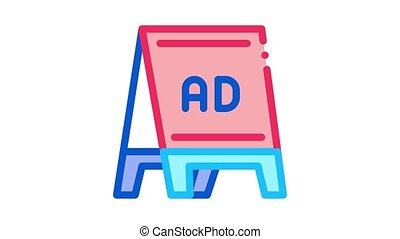folding billboard Icon Animation. color folding billboard animated icon on white background