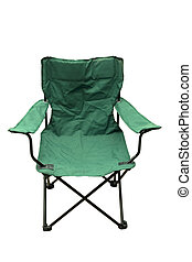 Folding Camping Chair - A green folding camping chair