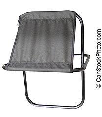 Folding camping stool isolated on white