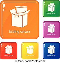 Folding carton icons set vector color