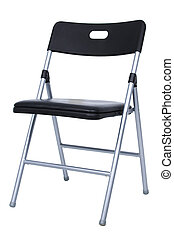 Folding Chair - Black and silver folding chair over white....