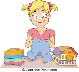Folding Clothes - Illustration of a Little Girl Folding a...