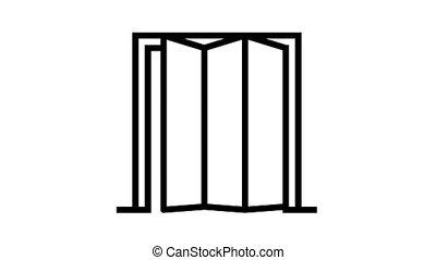 folding door animated black icon. folding door sign. isolated on white background