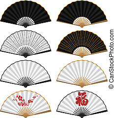 Folding Fan - Layered vector illustration of various Chinese...