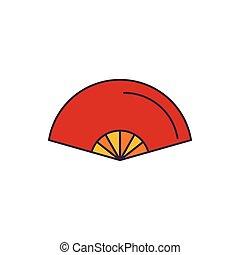 Folding fan icon, cartoon style