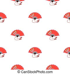 Folding fan icon in cartoon style isolated on white background. Japan pattern stock vector illustration.