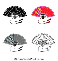Folding fan icon in cartoon style isolated on white background. Japan symbol stock vector illustration.