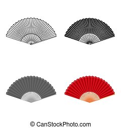Folding fan icon in cartoon style isolated on white background. Theater symbol stock vector illustration