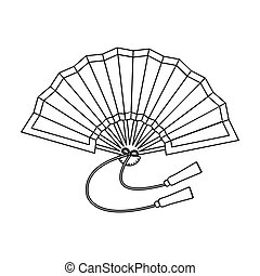 Folding fan icon in outline style isolated on white...