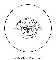 Japanese fan icon, outline style. Japanese fan icon in ...