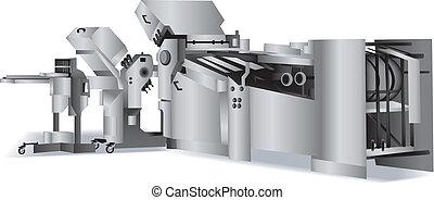 folding-machine, voor, boekbinderij