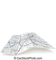 Folding map - Detailed editable vector folding map with no...