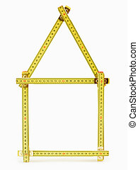 folding ruler whit house shape on white background