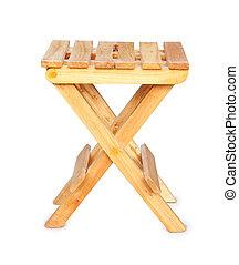 Wooden folding stool isolated on white background