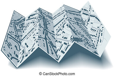Folding street map - Editable vector illustrated folding map...