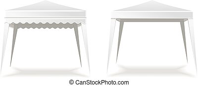 Folding white blank   tent or canopy.  Vector illustration