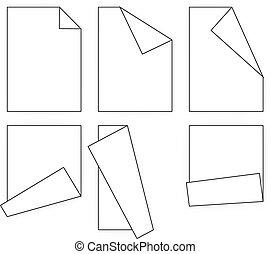 folding white paper icons