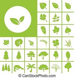 folha, árvore, ícone