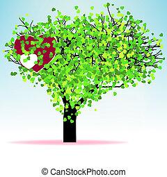 folha, árvore, eps, valentine, hearts., 8