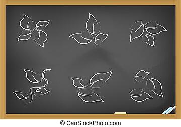 folha, ícones, drew, quadro-negro
