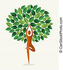 folha, índia, ioga, árvore