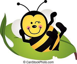 folha, abelha, cute, sentando, verde