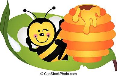 folha, abelha, feliz, sentando, hive