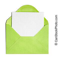 folha, aberta, cobertura, envelope, papel, verde, em branco,...